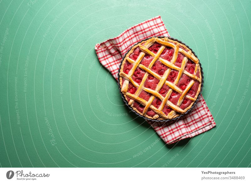 Raspberries cake with a lattice crust. Pie top view american baked bakery classic confectionery copy space crusty cut out decoration delicious dessert