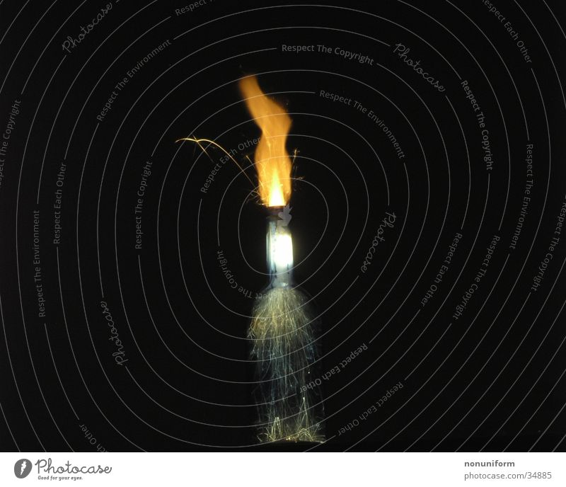 Burning bottle Sparkler Long exposure Bottle long-disc imaging Blaze Glass Smoke