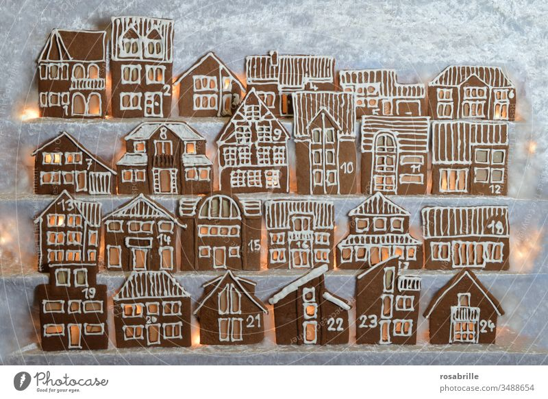 illuminated edible gingerbread advent calendar self-made from house facades in rows | anticipation Gingerbread houses Christmas bakery Baking Town Village