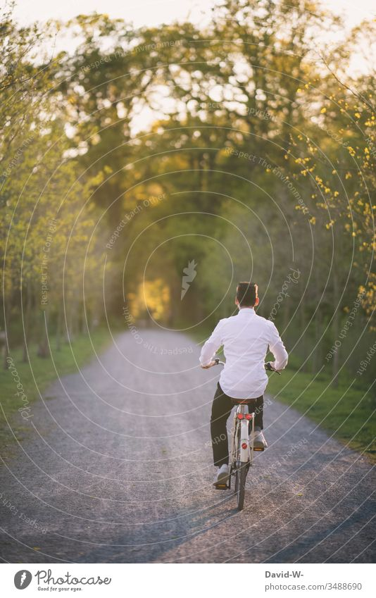 young man rides his bicycle through nature and makes a bicycle tour Cycling Bicycle Cycling tour Man Sunlight Summery Beautiful weather fun Joy Nature