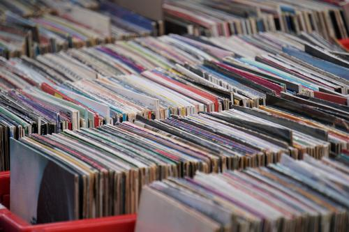 Vinyl records at the flea market Record Flea market vinyl disk Music Retro record exchange LP Flea market stall second hand Old vintage Many record box Crate