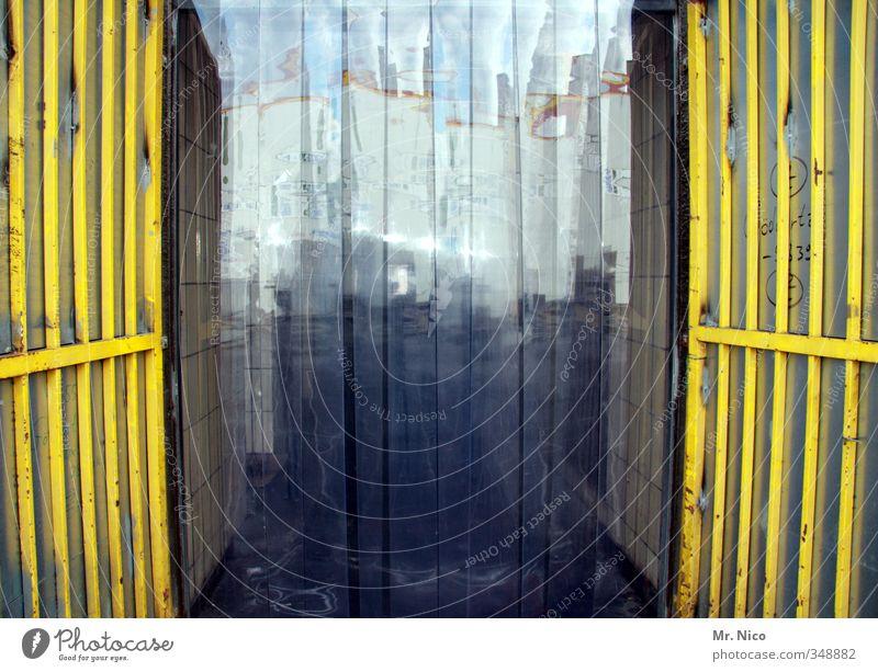 Yellow Door Closed Stripe Logistics Plastic Factory Gate Transparent Entrance Trade Economy Drape Warehouse Grating Hall