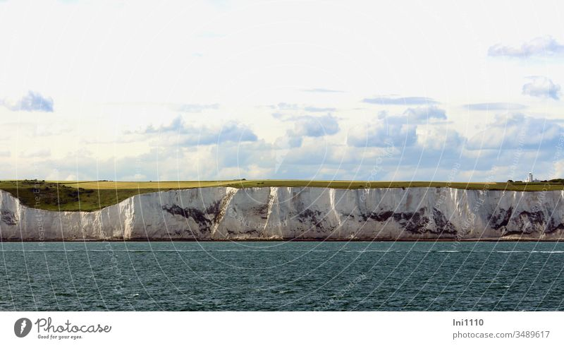 Chalk cliffs of Dover with English Channel and cumulus clouds in the sky white cliffs Coast England South of England Ocean Sky Great Britain Sea route