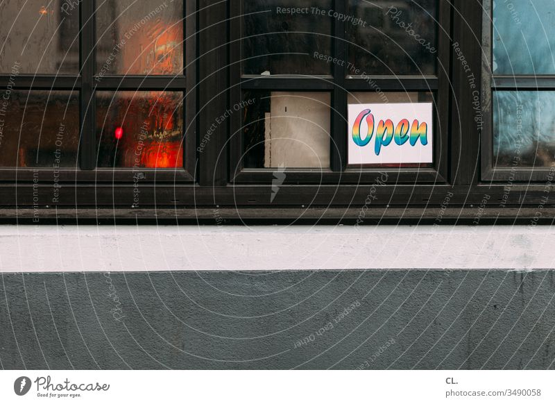 "sign ""open"" on a window Restaurant Roadhouse Event Open Gastronomy Signs and labeling Letters (alphabet) Window Wall (building) Deserted Characters"