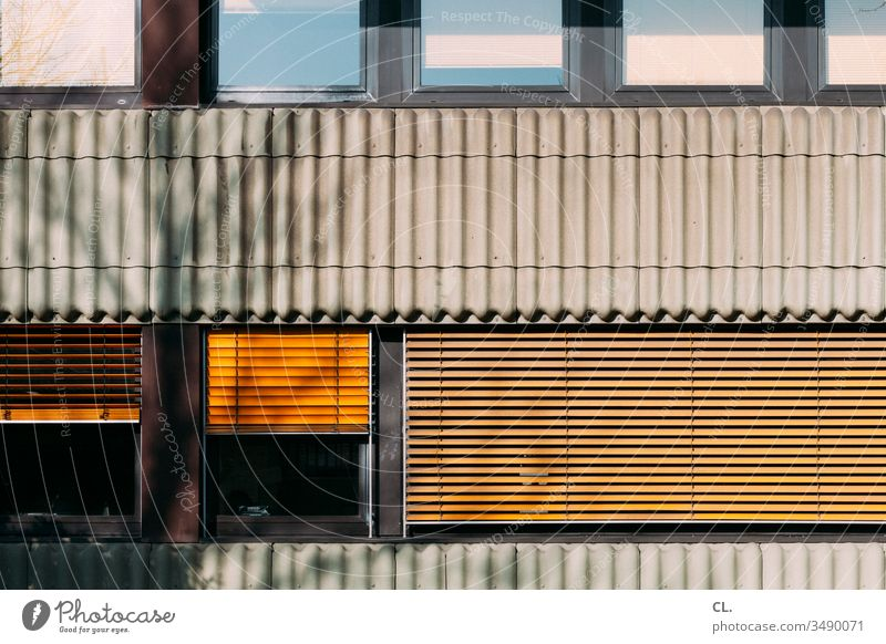 façade Window Roller blind Yellow Facade Screening Venetian blinds House (Residential Structure) Roller shutter Closed Wall (building) built Office building