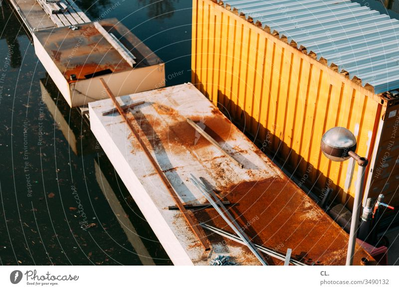 container Container container port Lamp Lantern Port area Harbour River Water Logistics Navigation Inland navigation Transport Industry Economy Deserted