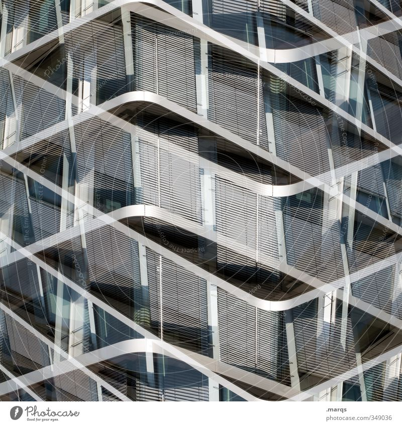 Symmetrical Elegant Style Design Architecture Facade Glass Metal Exceptional Hip & trendy Modern New Gray Black White Esthetic Symmetry Future Double exposure