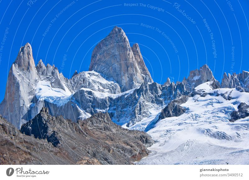 Monte Fitz Roy, Patagonia, Argentina, South America Adventure Andes Mountain Range Beautiful Beauty Of Nature Blue Blue Horizon Blue Sky Cerro Chaltén