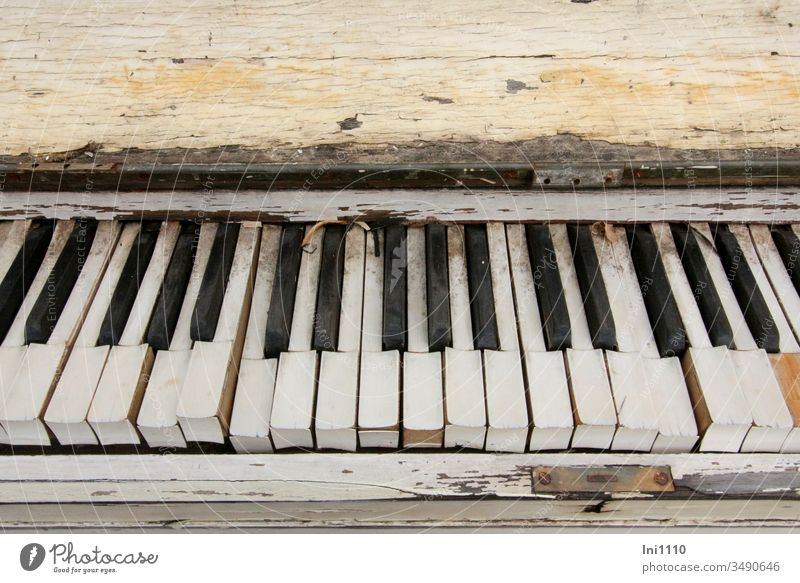 Once upon a time there was a piano ... Bulk rubbish Decoration nostalgically Wood Weathered Eye-catcher disused black and white fumble Keyboard tool Defective