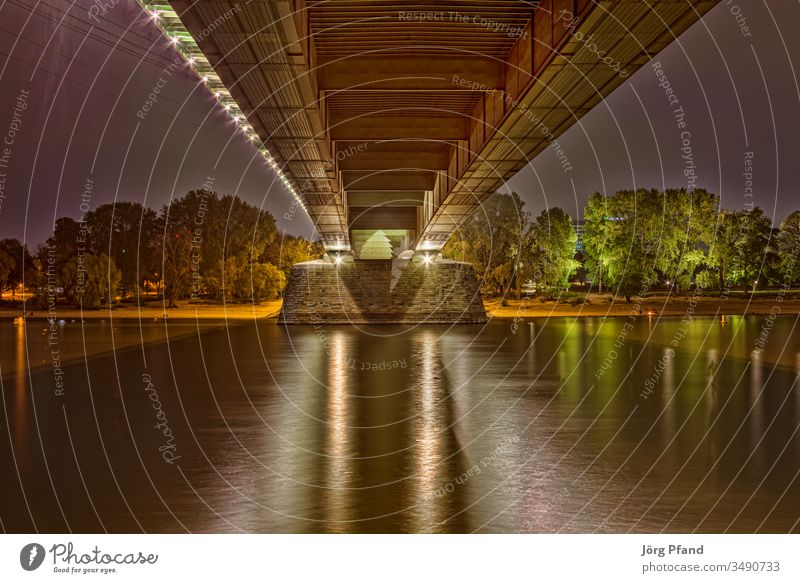 Under the Cologne Zoo Bridge Zoo bridge HDR Night down by the river Rhine Germany EUR Europe bank trees Light illuminated cuboids rheinufer long exposure