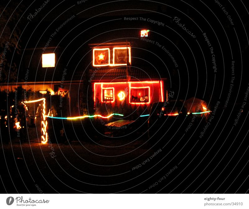 christmas time Christmas & Advent Festive Lighting Multicoloured Cheap Flashy Dazzle Evening Night Architecture Kitsch Contrast white trash eighty-four
