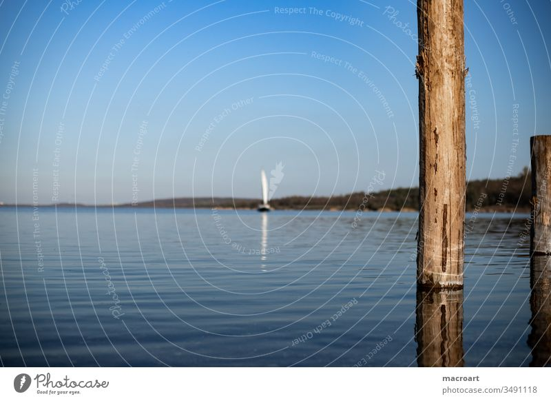 Sailing boat and wooden stakes in water- groynes Lake Sailboat ship Water Body of water Day Exterior shot Ocean Protection breakwater logs tree trunks Round Sky