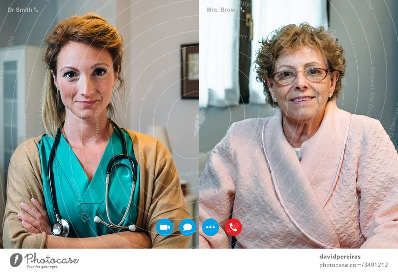 Video call screen with elderly woman and female doctor video call senior hospital coronavirus medical report quarantine patient grandmother recovery webcam