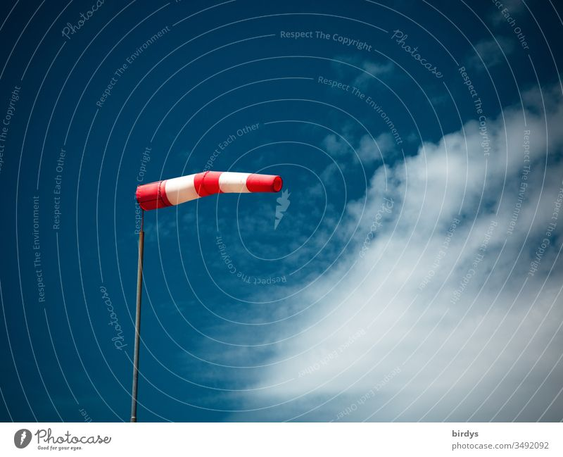 inflated windsock in strong wind in front of blue sky and clouds Windsock Wind direction Reddish white Blue direction indicator Blow Beautiful weather Deserted