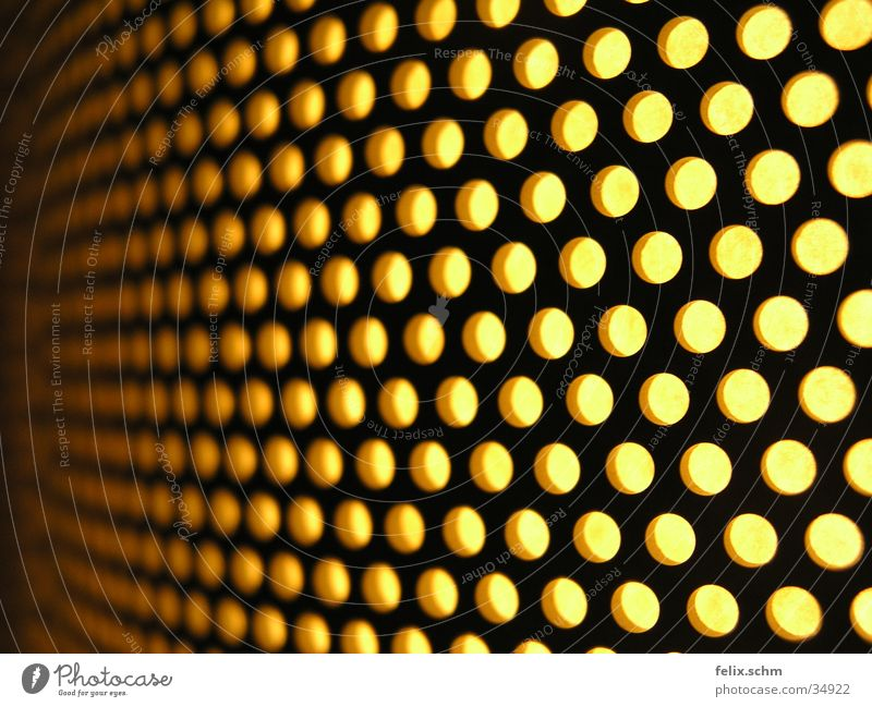 Yellow Metal Lamp Perspective Things Point Hollow Depth of field Radiation Grating Glow Grid Undulating Lampshade Perforation
