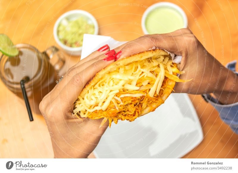 Venezuelan typical food, Arepa, Different types of arepas, meat, black beans, cheese, fried plantain, typical South American food pasta meal plate dinner dish