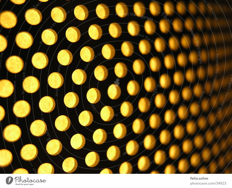 Yellow Lamp Metal Perspective Living or residing Radiation Hollow Depth of field Grid Grating Glow Lampshade Undulating Perforation