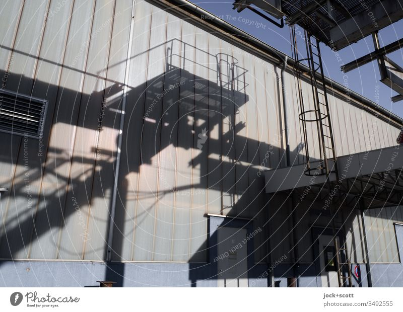 Shadow of industry on a sunny day Stairs Staircase (Hallway) Architecture Colour photo Handrail Shadow play Ladder Building Wall (building) Old Metal