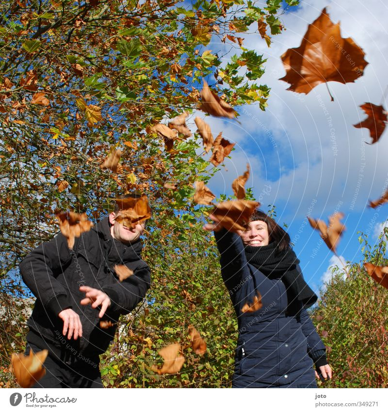 Human being Nature Joy Leaf Life Autumn Funny Laughter Happy Couple Friendship Together Leisure and hobbies Smiling Beautiful weather Happiness