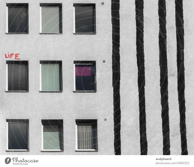 The red lettering above the window of the house abstract architecture Background Berlin black building building exterior built structure city day design facade