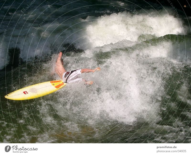 Sports Waves Sudden fall Surfer White crest Surfboard