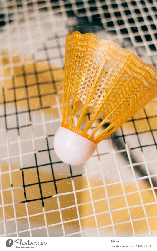 Close-up of a yellow shuttlecock on the net of a badminton racket Shuttlecock Badminton play badminton badminton rackets Playing Sports Leisure and hobbies