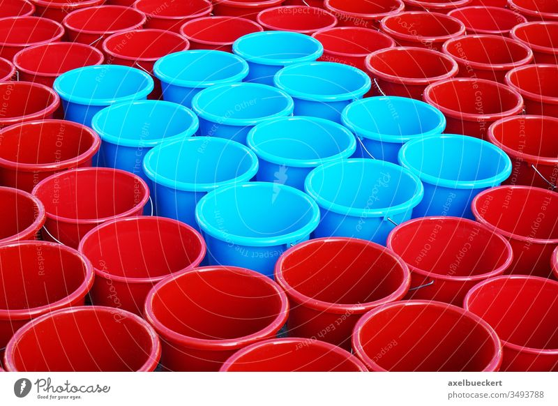 Bucket in red and blue Many water consumption water bucket household bucket cleaning bucket Tub Cleaning Cleanliness Orderliness Arrangement Purity Pattern Red