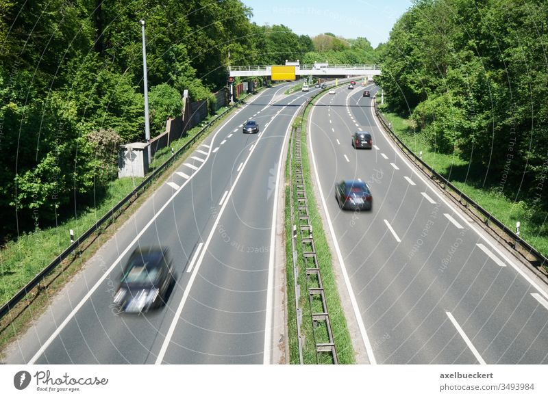 Fair expressway Hannover Messeschnellweg Freeway Highway Four-lane Road traffic Transport car Driving Motoring Speed motor road Traffic infrastructure