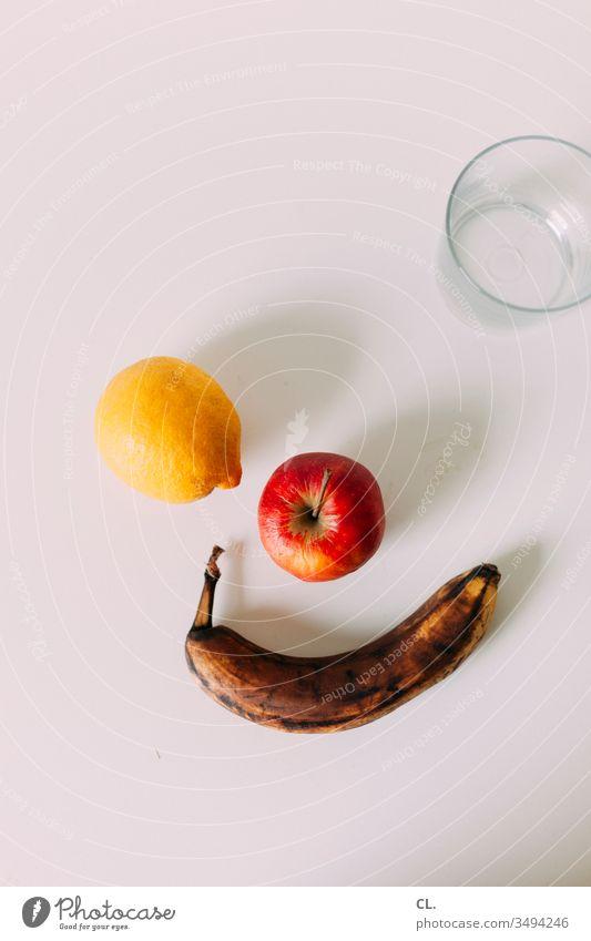 lemon, apple, banana, glass fruit Lemon apples Banana Glass Water Eating Drinking Beverage Food Fresh Healthy Vegetarian diet Colour photo Healthy Eating