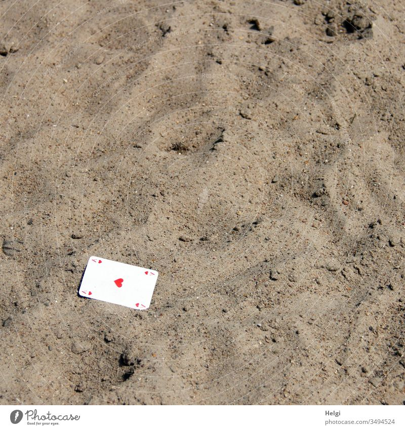 just popped up... ;-) a playing card Ace of Hearts lies in the sand As Playing card game Game of chance Sand Doomed Lie map Game of cards free time hobby
