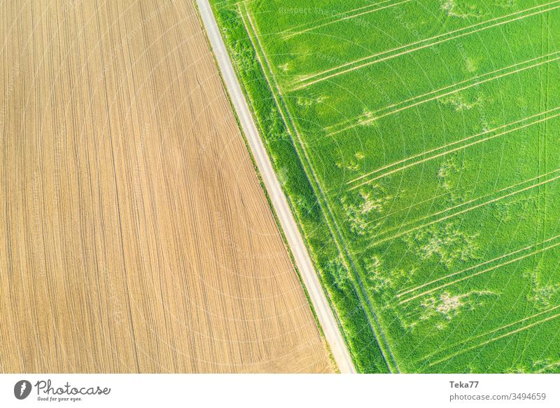 an agricultural landscape from above agricultural way tractor tractor path field background meadow background air aerial view aerial photo texture grass farm