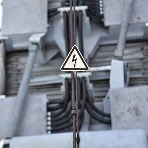 Attention high voltage High voltage power line Warning label Tram Cable electricity Transmission lines Energy Wire Electronic Warning sign Technology Force