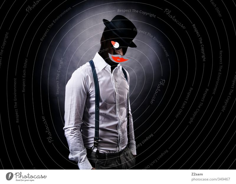 Youth (Young adults) Adults Dark Young man Style Masculine Power Elegant Mouth Cool (slang) Paper Lips Hat Shirt Creepy Whimsical