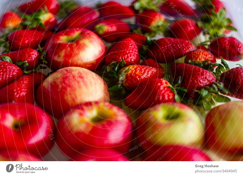 Fresh Organic Strawberries and Apples Floating in a Tub of Water diet food nutrition healthy food photography fresh vegan Vitamin eating strawberries apples