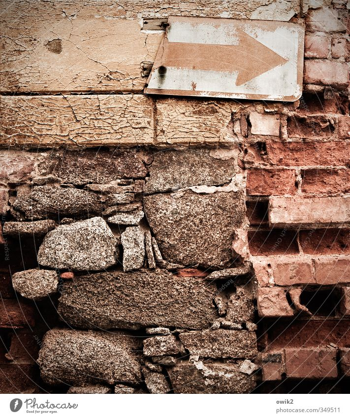 Old House (Residential Structure) Wall (building) Wall (barrier) Building Stone Metal Facade Transport Signage Broken Transience Copy Space Tracks Derelict