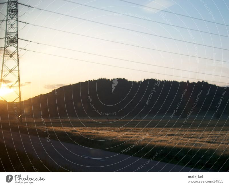 Sun Landscape Energy industry Electricity Cable Electricity pylon Wire