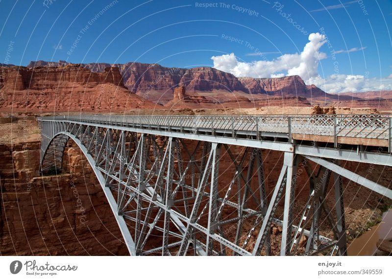 bridge building Vacation & Travel Tourism Adventure Environment Nature Landscape Sky Clouds Rock Canyon River Desert Bridge Traffic infrastructure