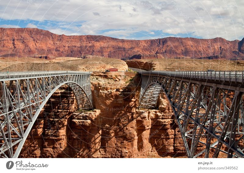 young and old Vacation & Travel Tourism Adventure Nature Landscape Clouds Rock Canyon Bridge Manmade structures Architecture Traffic infrastructure Street