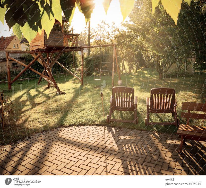 take a break Sunlight Break chairs Idyll tranquillity Summer leaves Meadow Scaffolding Shadow Warm light Colour photo Light Day Landscape Environment Island