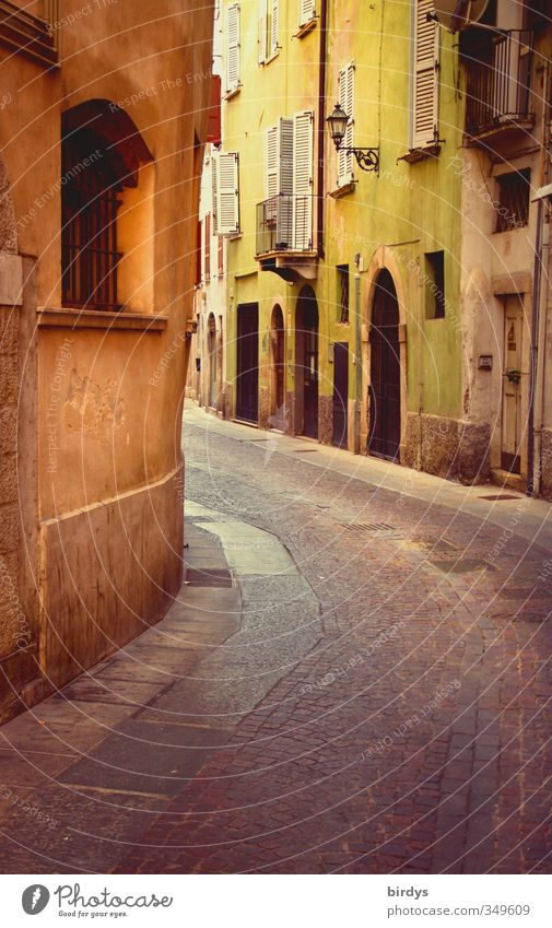 Italian flair Brescia Italy Village Small Town Old town House (Residential Structure) Street Alley Historic Original Positive Warmth Yellow Green Idyll Culture