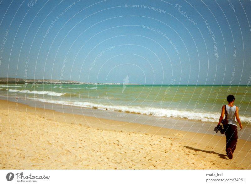 Woman Nature Water Beach Landscape Horizon Tunisia