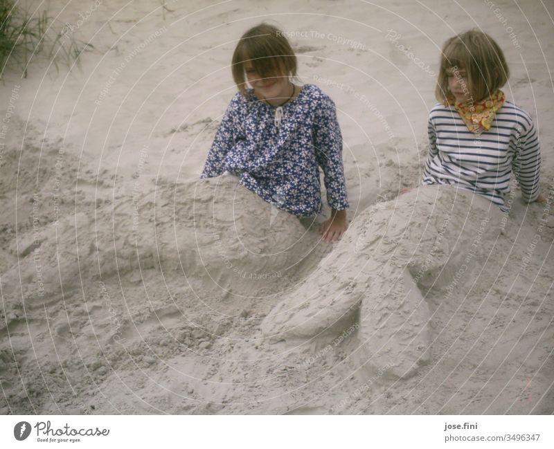 Mermaids Child girl Beach Sand vacation holidays family vacation whorls Sculpture Creativity Happiness Joy Playing Relaxation Dunes North Sea Fantasy Sisters