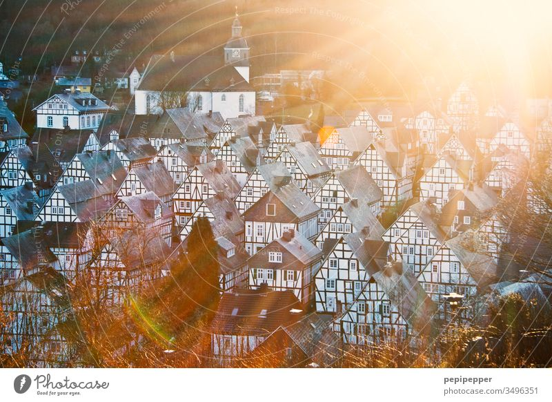 Freudenberg, with many beautiful half-timbered houses, at sunset freudenberg Exterior shot Deserted Architecture Manmade structures Facade Building