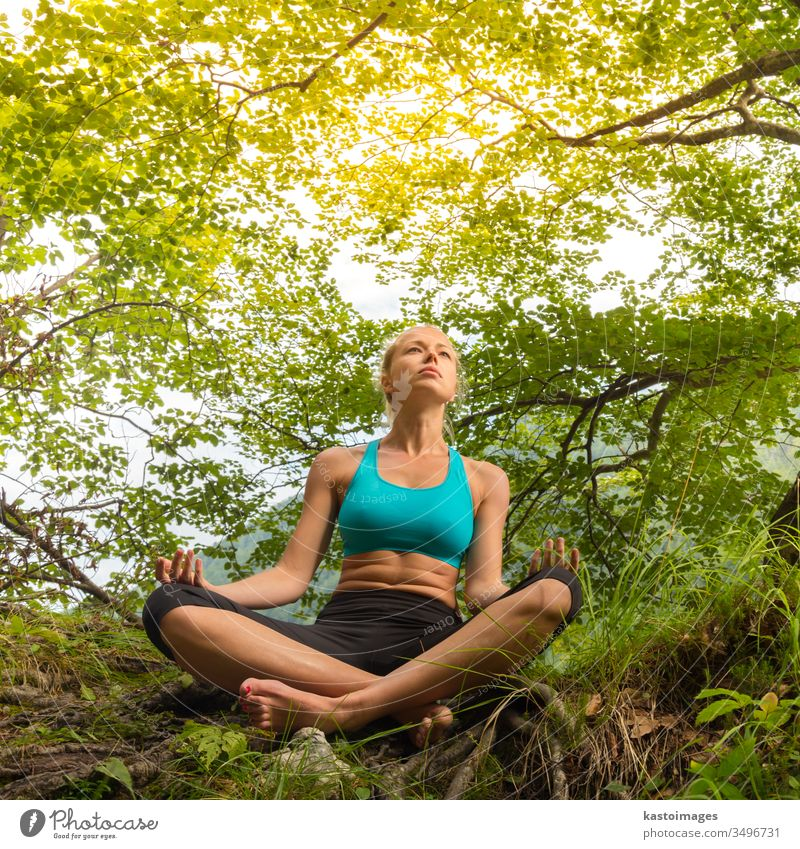 Woman relaxing in beautiful nature. female lifestyle woman tree healthy spirituality summer beauty meditation girl yoga relaxation person zen vitality body