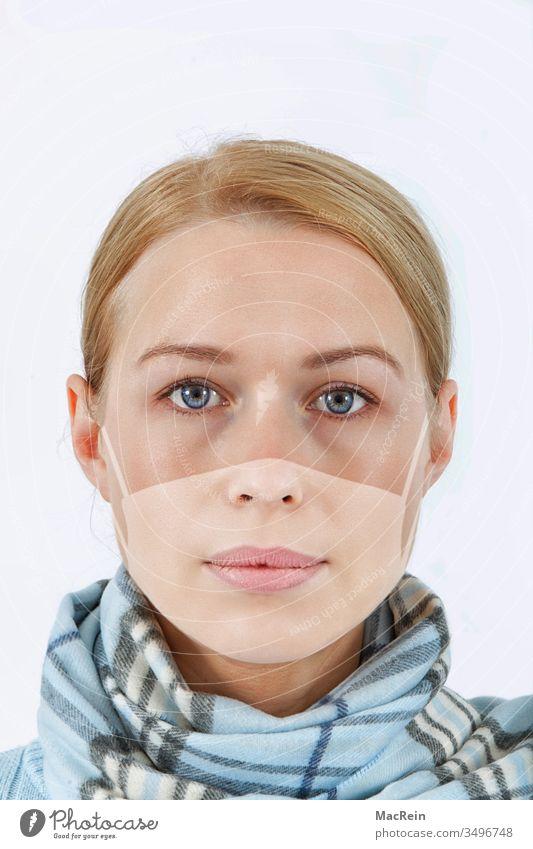 Optical face mask through sunbathing Mask Mouth protection mask Sunbathing solar irradiation Sunburn Reddened Fair-skinned copied sunstrips nobody corona