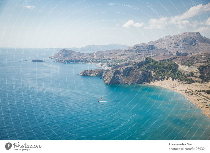 Panoramic top view of Tsampika beach, mountains and blue sea, Rhodes island, Greece. sunny weather. aerial aerial view bay beautiful beauty boat coast coastline