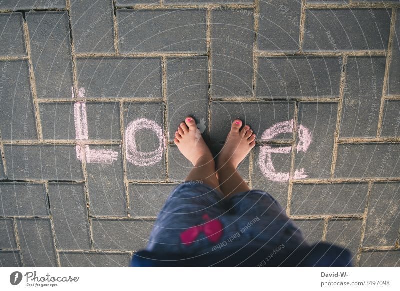 Love - child and love Child Stand creatively writing Word foot Cute With love Sweet Chalk Ground visualization Bird's-eye view Letters (alphabet) Colour photo