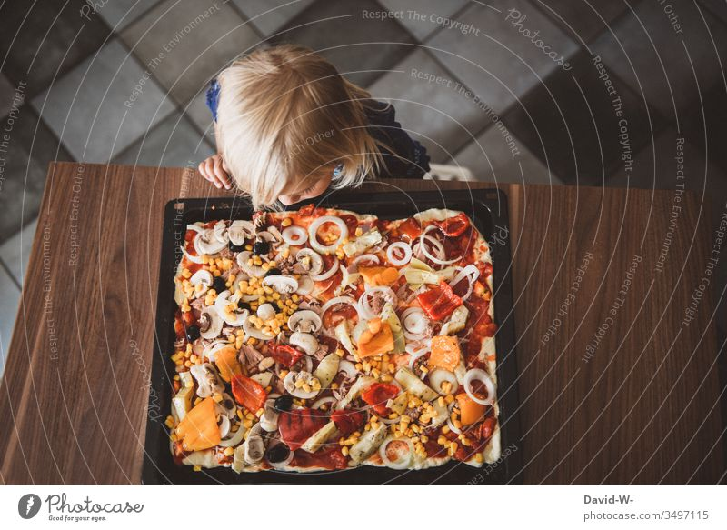 ready is the pizza - child girl looks at pizza plate Pizza hunger Appetite Child Toddler cake Nutrition Food Eating Delicious Baking Human being Infancy