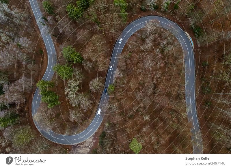 Aerial view of a forest with a curvy road. Captured from above with a drone in Bavaria, southern germany. curve cars aerial nature mountain tree panorama