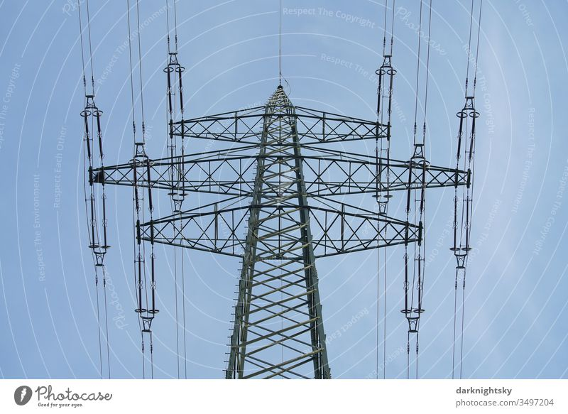 Electricity Transport via mast and overhead line Grating lattice mast half-timbered static high voltage 220kV Electricity pylon energy revolution quiet blue Sky